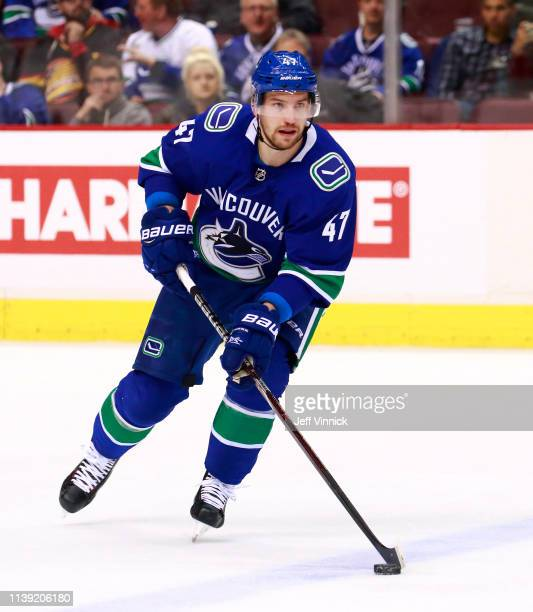 Sven Baertschi of the Vancouver Canucks skates up ice during their NHL game against the Anaheim Ducks at Rogers Arena March 26 2019 in Vancouver...