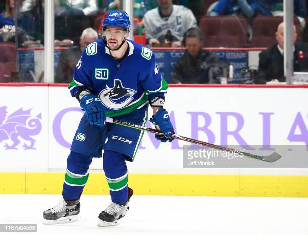 Sven Baertschi of the Vancouver Canucks skates up ice during their NHL game against the New Jersey Devils at Rogers Arena November 10, 2019 in...