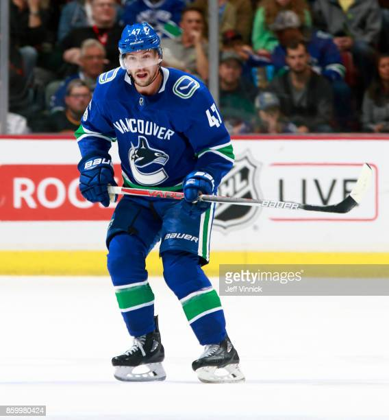 Sven Baertschi of the Vancouver Canucks skates up ice during their NHL game against the Edmonton Oilers at Rogers Arena October 7 2017 in Vancouver...