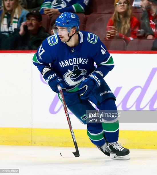 Sven Baertschi of the Vancouver Canucks skates up ice during their NHL game against the Detroit Red Wings at Rogers Arena November 6 2017 in...
