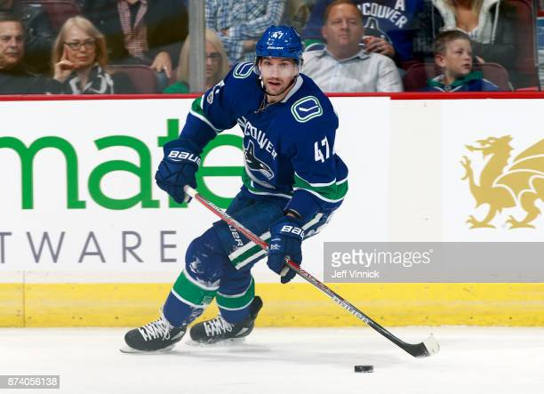 Sven Baertschi of the Vancouver Canucks skates up ice with the puck during their NHL game against the Dallas Stars at Rogers Arena October 30 2017 in...
