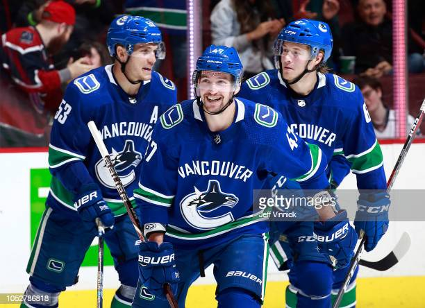 Sven Baertschi of the Vancouver Canucks skates with teammates Bo Horvat and Brock Boeser after scoring during their NHL game against the Washington...