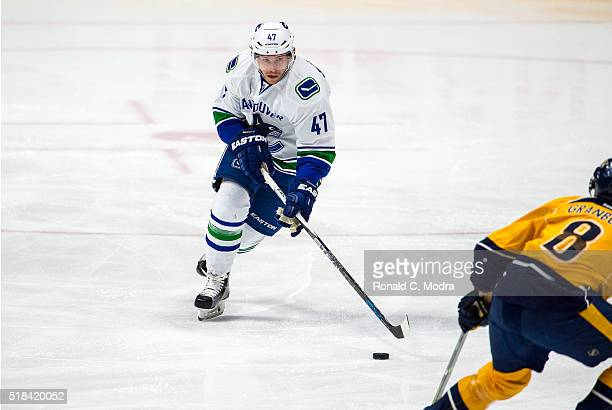 Sven Baertschi of the Vancouver Canucks skates with the puck against the Nashville Predators during a NHL game at Bridgestone Arena on March 24 2016...