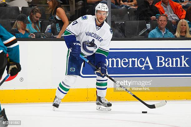 Sven Baertschi of the Vancouver Canucks skates with the puck against the San Jose Sharks at SAP Center on September 27 2016 in San Jose California