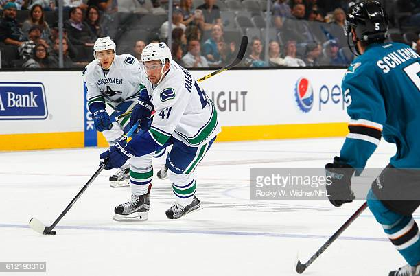 Sven Baertschi of the Vancouver Canucks skates with the puck against thes San Jose Sharks at SAP Center on September 27 2016 in San Jose California