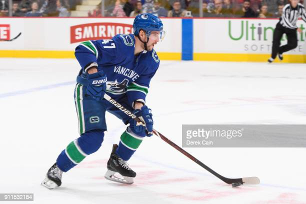 Sven Baertschi of the Vancouver Canucks skates with the puck during their NHL game against the Buffalo Sabres at Rogers Arena on January 25 2018 in...