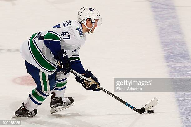 Sven Baertschi of the Vancouver Canucks skates with the puck in a shootout against the Florida Panthers at the BBT Center on December 20 2015 in...