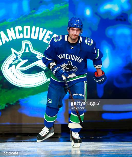 Sven Baertschi of the Vancouver Canucks steps onto the ice during their NHL game against the Calgary Flames at Rogers Arena October 3, 2018 in...