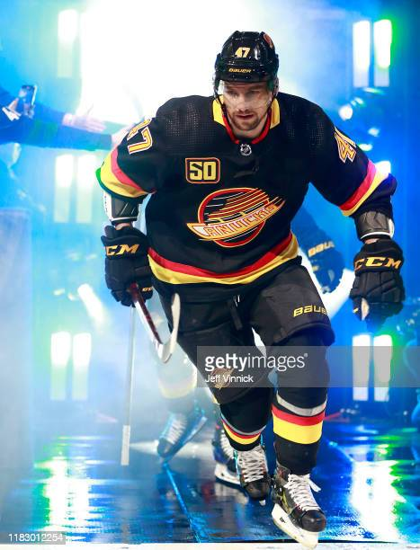 Sven Baertschi of the Vancouver Canucks steps onto the ice during their NHL game against the Colorado Avalanche at Rogers Arena November 16, 2019 in...