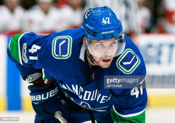 Sven Baertschi of the Vancouver Canucks waits for a face-off during their NHL game against the Calgary Flames at Rogers Arena October 14, 2017 in...