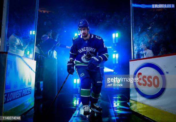 Sven Baertschi of the Vancouver Canucks walks out to the ice during their NHL game against the Dallas Stars at Rogers Arena March 30, 2019 in...