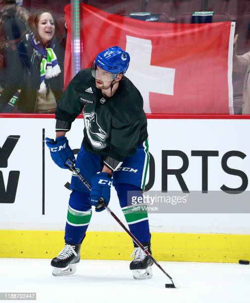 Sven Baertschi of the Vancouver Canucks warms up during their NHL game against the Dallas Stars at Rogers Arena November 14, 2019 in Vancouver,...