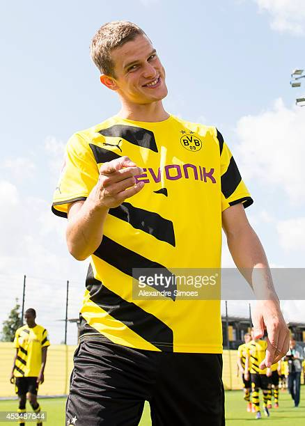 Sven Bender and the team on their way to the Borussia Dortmund team presentation on August 11 2014 in Dortmund Germany