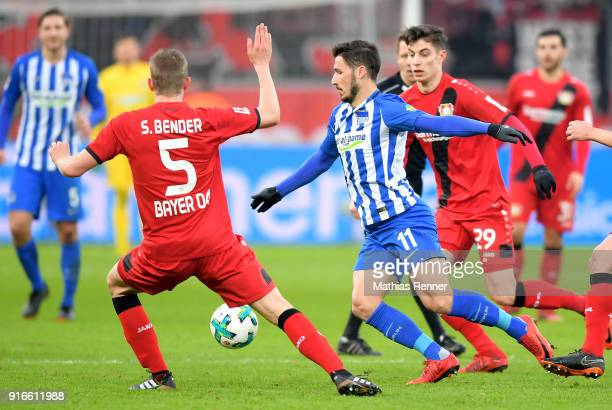 Sven Bender of Bayer 04 Leverkusen and Mathew Leckie of Hertha BSC during the first Bundeliga game between Bayer 04 Leverkusen and Hertha BSC at...