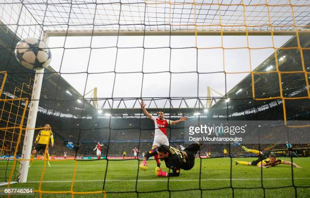 Sven Bender of Borussia Dortmund scores an own goal during the UEFA Champions League Quarter Final first leg match between Borussia Dortmund and AS...