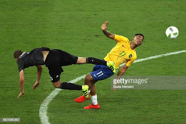 Sven Bender of Germany and Gabriel Jesus of Brazil in action during the Men's Football Final between Brazil and Germany at the Maracana Stadium on...