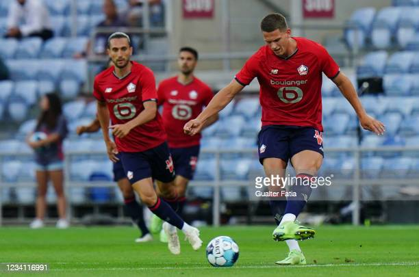 Sven Botman of LOSC Lille in action during the Pre-Season Friendly match between SL Benfica and Lille at Estadio Algarve on July 22, 2021 in Loule,...
