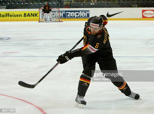 Sven Butenschoen of Germany in action during the IIHF World Ice Hockey Championship relegation round match between Germany and Denmark at the Post...