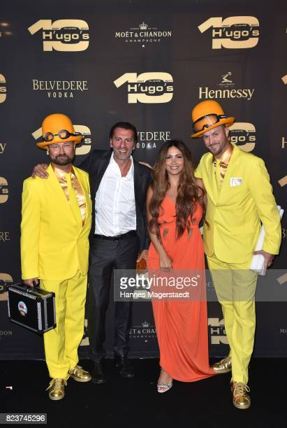 Sven Cermak Ugo Crocamo comedian Enissa Amani and Florian Gauder during the H'ugo's 10th birthday celebration party at Hugo's on July 27 2017 in...