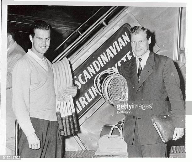 Sven Davidson and Lennart Bergelin members of the Swedish Davis Cup team arrive in New York from Stockholm They will play in the US Championship...