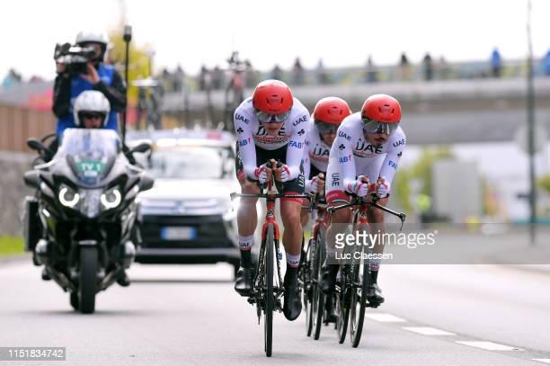 Sven Erik Bystrom of Norway and UAE Team Emirates / Roberto Ferrari of Italy and UAE Team Emirates / Yousif Mirza Al-Hammadi of United Arab Emirates...