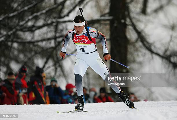 Sven Fischer of Germany on his way to finishing third and wins the Bronze Medal in the Mens Biathlon 125km Pursuit Final on Day 8 of the 2006 Turin...