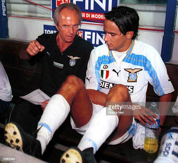 Sven Goran Eriksson and Simone Inzaghi of Lazio in discussion during a Serie A match Mandatory Credit Grazia Neri/ALLSPORT
