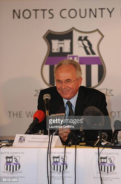 Sven Goran Eriksson talks to the media as he is announced a the new Director of Football at Notts County at Meadow Lane on July 22, 2009 in...