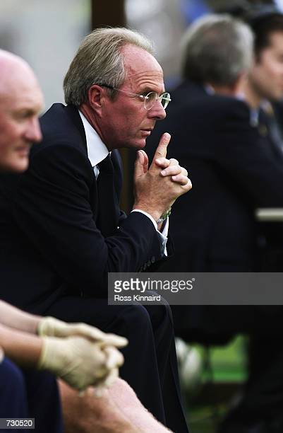 Sven Goran Eriksson the England manager watches the Group F against Nigeria of the World Cup Group Stage played at the Osaka-Nagai Stadium, Osaka,...