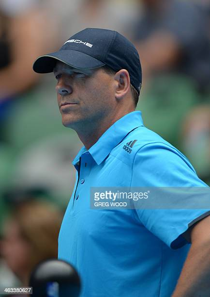 Sven Groeneveld coach to Russia's Maria Sharapova looks on during her women's singles match against France's Alize Cornet on day six of the 2014...