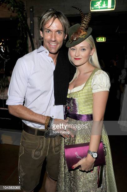 Sven Hannawald and girlfriend MarieTherese Mueller attend the 'Almauftrieb arrives for second evening at the hippodrom at the Oktoberfest 2010 at...