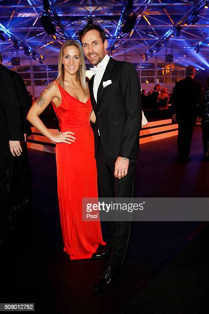 Sven Hannawald and girlfriend Melissa Thiem attend the German Sports Gala 'Ball des Sports 2016' on February 6 2016 in Wiesbaden Germany