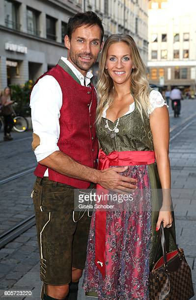 Sven Hannawald and his girlfriend Melissa Thiem are seen on September 14 2016 in Munich Germany
