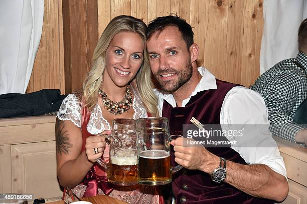 Sven Hannawald and his girlfriend Melissa Thiem attend the Fisch Baeda during the Oktoberfest 2015 Opening at Theresienwiese on September 19 2015 in...