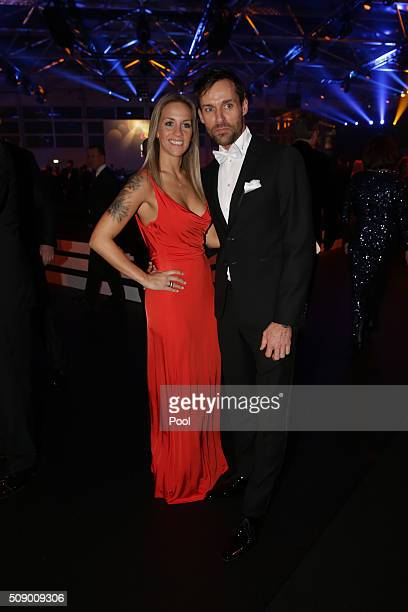 Sven Hannawald and his girlfriend Melissa Thiem pose during the German Sports Gala 'Ball des Sports 2016' on February 6 2016 in Wiesbaden Germany