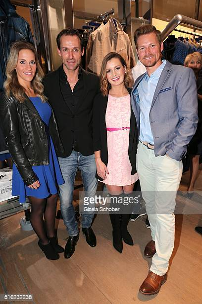 Sven Hannawald and his girlfriend Melissa Thieme Karolin Oltersdorf Sky and Gregor Teicher during the Bugatti boutique opening on March 17 2016 in...