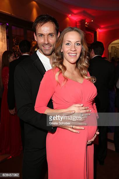 Sven Hannawald and his pregnant wife Melissa Hannawald wearing a dress by Minx during the 10th Audi Generation Award 2016 at Hotel Bayerischer Hof on...