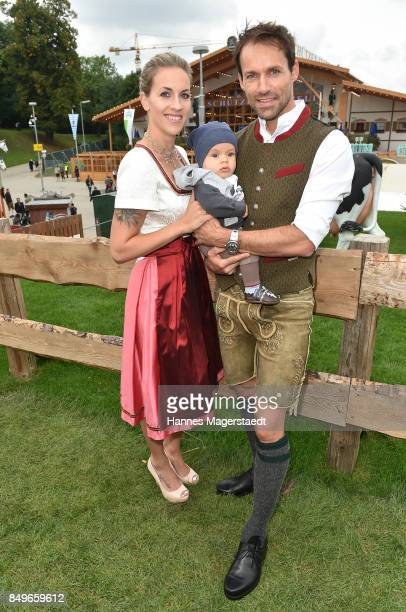 Sven Hannawald and his wife Melissa with son Glen during the 'Alpenherz' as part of the Oktoberfest 2017 at Kaefer Tent on September 19 2017 in...