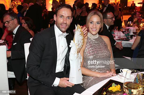 Sven Hannawald with the Meissen Pegasos Award and his girlfriend Melissa Thiem during the German Sports Media Ball at Alte Oper on November 7 2015 in...