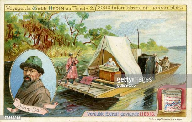 Sven Hedin 's voyage to Tibet - 2000 kilometres by flat boat. Hedin 's group arrived at Yahghi- Koul on 7 December 1899. With portrait of Hedin's...