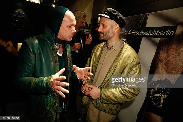 Sven Kilthau-Lander, Universal Musik and Andrea Rosso, DIESEL Creative Director of Licencing, attend the Diesel watches store event on November 19,...