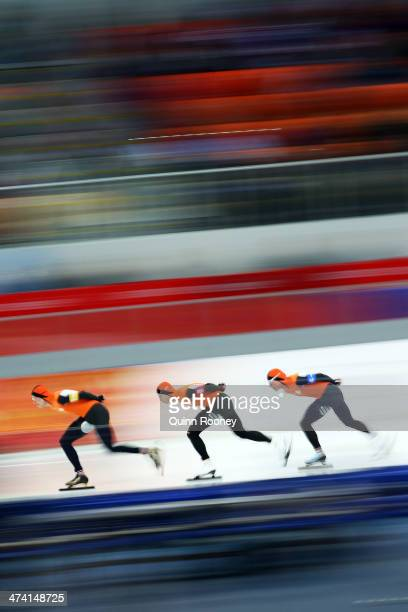 Sven Kramer, Jan Blokhuijsen and Koen Verweij of the Netherland compete during the Men's Team Pursuit Final A Speed Skating event on day fifteen of...