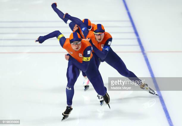 Sven Kramer Jan Blokhuijsen and Koen Verweij of the Netherlands compete during the Men's Team Pursuit Speed Skating Quarter Finals on day nine of the...