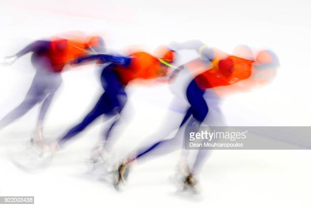 Sven Kramer, Jan Blokhuijsen and Patrick Roest of the Netherlands compete during the Speed Skating Men's Team Pursuit Semifinal 2 on day 12 of the...