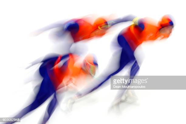 Sven Kramer, Jan Blokhuijsen and Patrick Roest of the Netherlands compete during the Speed Skating Men's Team Pursuit Semifinal 2 against Norway on...
