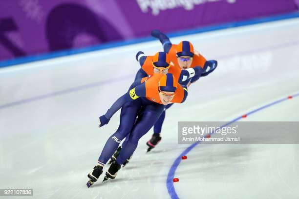 Sven Kramer Jan Blokhuijsen and Patrick Roest of the Netherlands compete during the Speed Skating Men's Team Pursuit Semifinal 2 against Norway on...