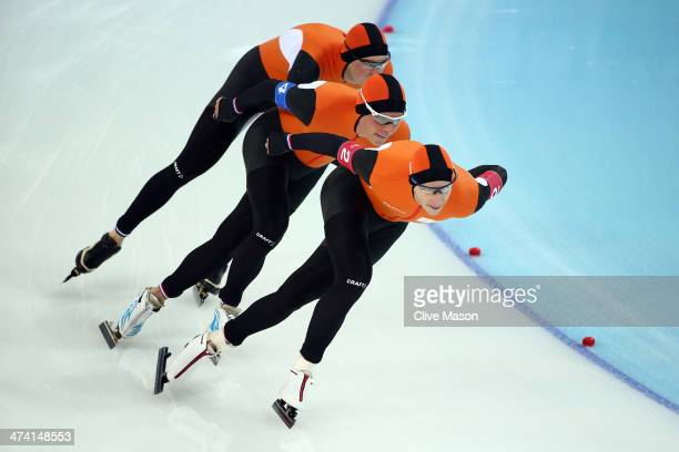 Sven Kramer Koen Verweij and Jan Blokhuijsen of the Netherland compete during the Men's Team Pursuit Final A Speed Skating event on day fifteen of...