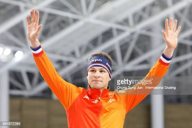 Sven Kramer of Netherlands celebrates on the podium during the medal ceremony in the Men 5000 during the ISU World Single Distances Speed Skating...
