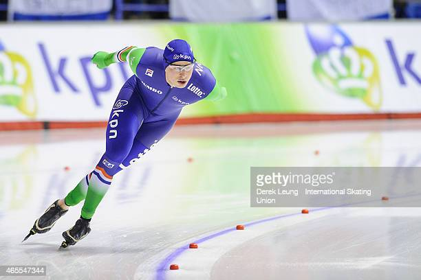 Sven Kramer of Netherlands places first in the men's 5000m with a time of 60749 during the ISU World Allround Speed Skating Championships at Olympic...