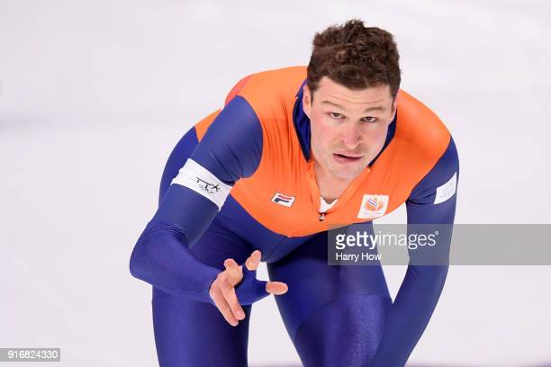 Sven Kramer of the Netherlands celebrates his Olympic record time of 60976 to win the gold medal during the Men's 5000m Speed Skating event on day...